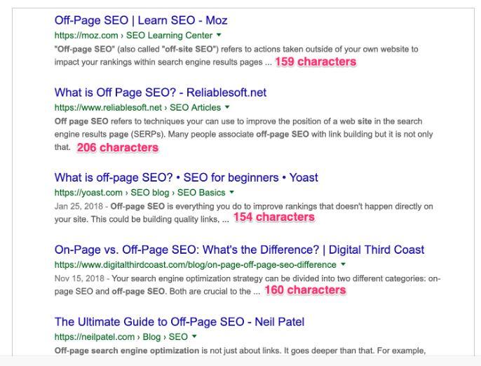 میانگین طول توصیف متا در نتایج جستجوی Google