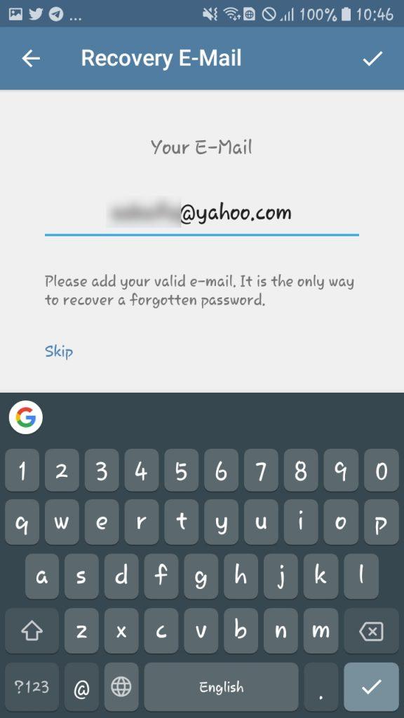 تاییدیه دو مرحله ای تلگرام