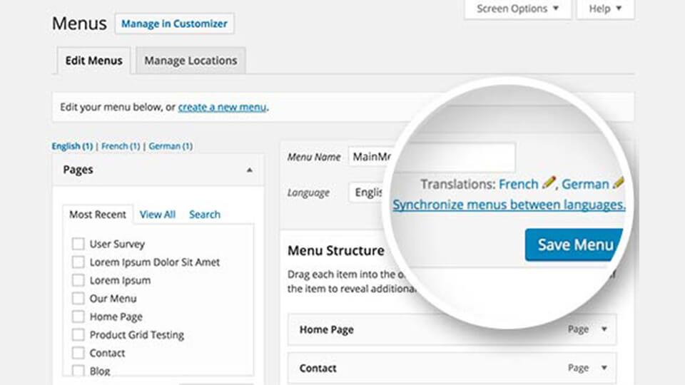 ترجمه منوی اصلی با افزونه WPML