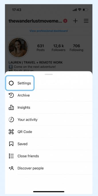 وارد شدن به تنظیمات اینستاگرام