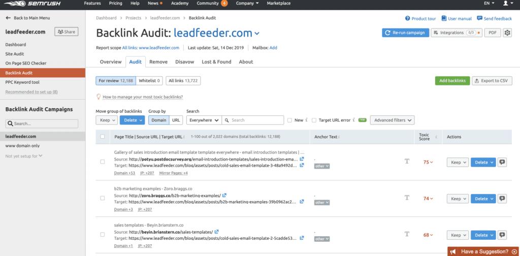 حذف لینک مخرب با استفاده از semrush