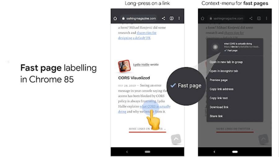 گوگل کروم برای برجسته کردن صفحات سریع در تلفن همراه