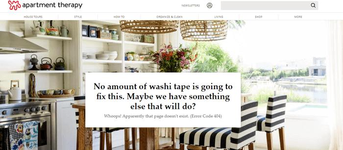 نمونه طراحی صفحه 404 Apartment Therapy
