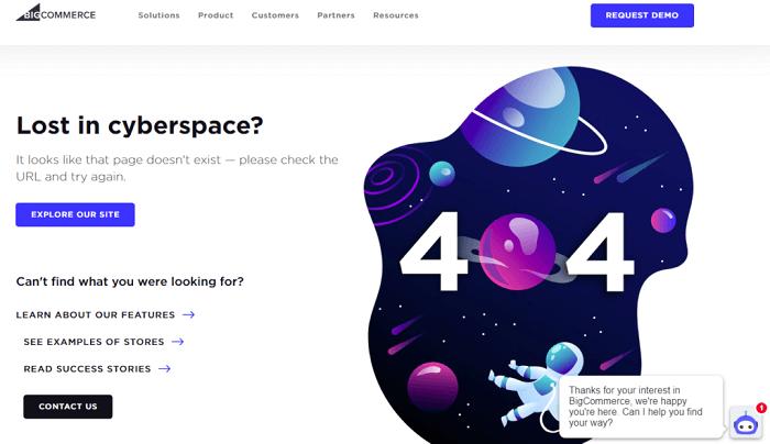 نمونه طراحی صفحه 404 BigCommerce