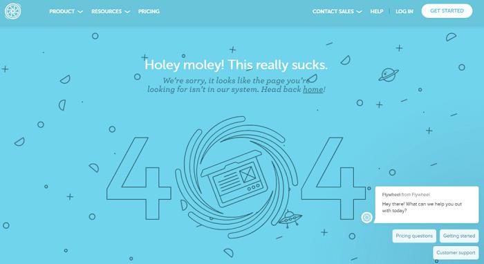 نمونه طراحی صفحه 404  Flywheel