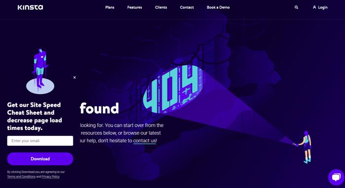 نمونه طراحی صفحه 404 Kinsta