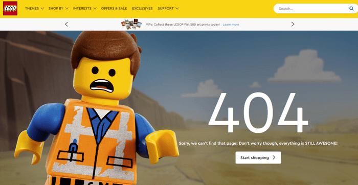 نمونه طراحی صفحه 404 Lego