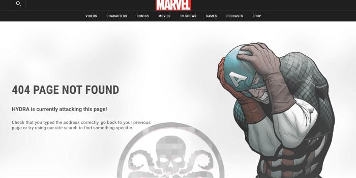 نمونه طراحی صفحه 404 Marvel