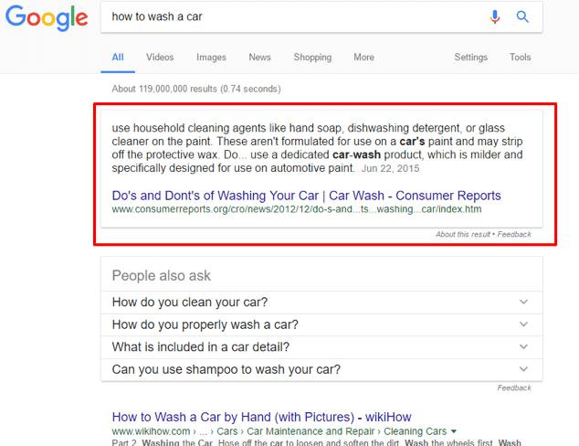 گزینه ویژگی اسنیپت در نتایج جستجوی گوگل