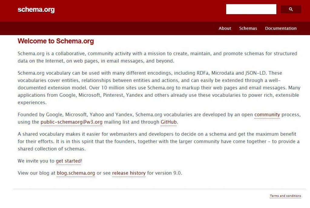 صفحه سایت Schema.org