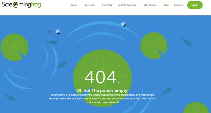 نمونه طراحی صفحه 404  Screaming Frog