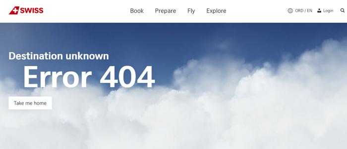نمونه طراحی صفحه 404 Swiss