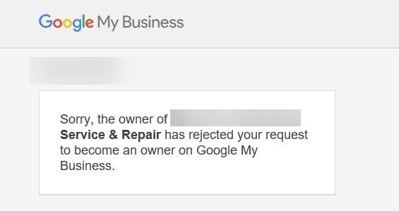 پیغام رد درخواست مالکیت