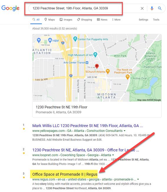 جستجوی آدرس فیزیکی در Google از آدرس دفتر مجازی