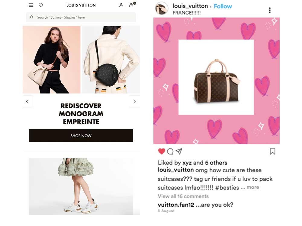 نام تجاری متناقض، تصویر صفحه Louis Vuitton واقعی و فیک