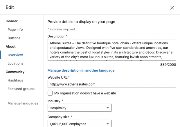 کامل کردن اطلاعات پروفایل لینکداین