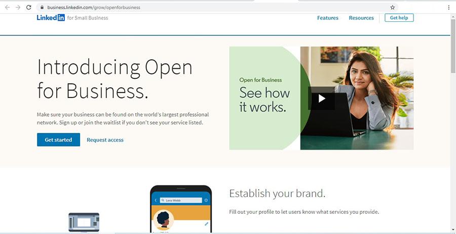 صفحه Open for Business