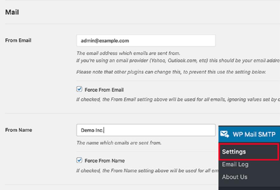 تنظیمات افزونه  WP Mail SMTP Pro برای تغییر نام فرستنده ایمیل
