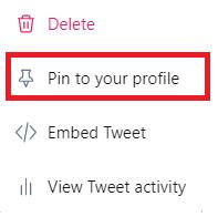 انتخاب گزینه pin to your profile برای پین کردن توییت های مهم