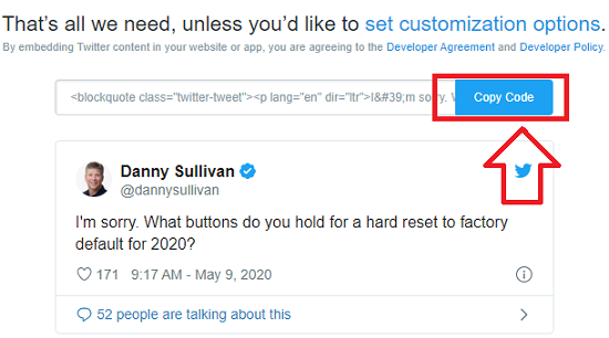 کپی کد آدرس توییت برای جاسازی در وبلاگ یا وب سایت