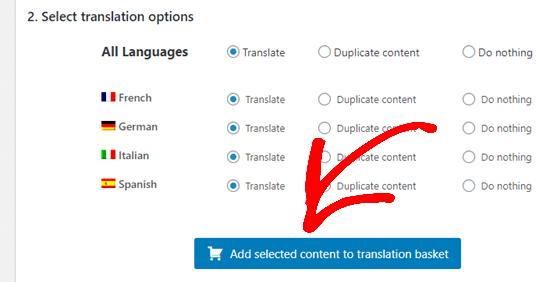 انتخاب زبان برای ترجمه