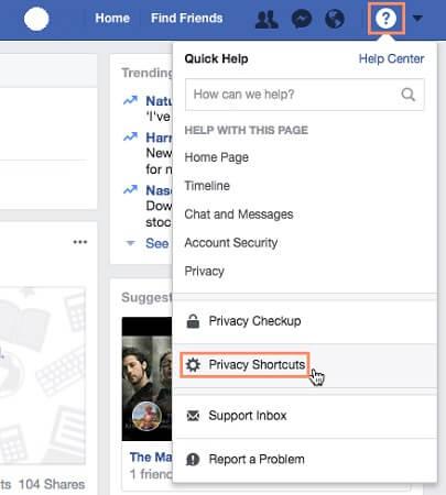 دسترسی به تنظیمات Help Center میانبرهای حریم خصوصی فیسبوک