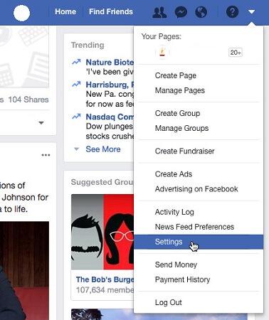 دسترسی به صفحه تنظیمات حریم خصوصی و صفحه ابزار فیسبوک