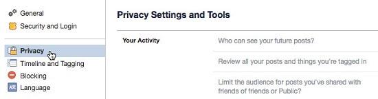 ظاهر شدن صفحه تنظیمات حریم خصوصی