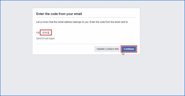 وارد کردن کد برای ادامه مراحل ساخت اکانت فیسبوک در کامپیوتر