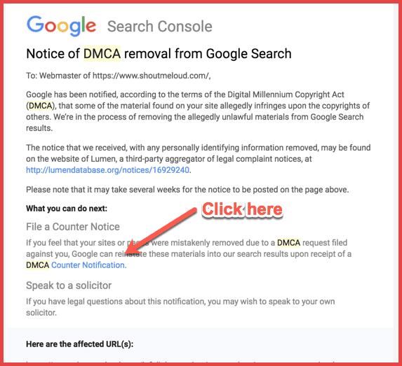 اخطار DMCA