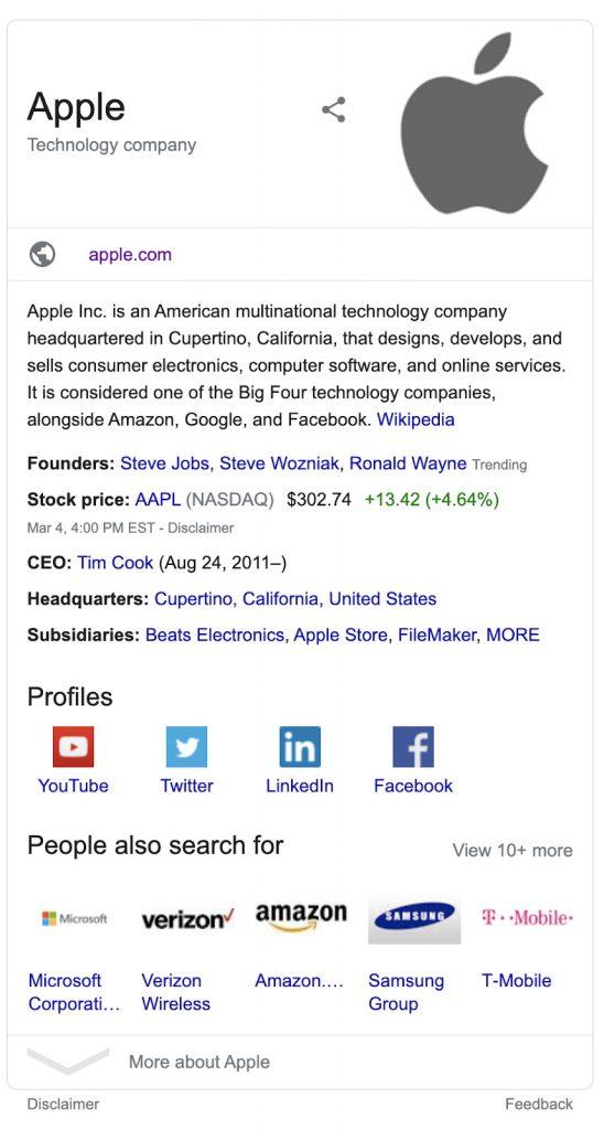 گراف دانش برای برند اپل