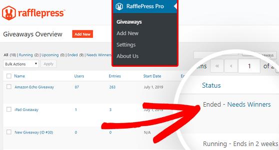 به منوی RafflePress به Giveaways بروید