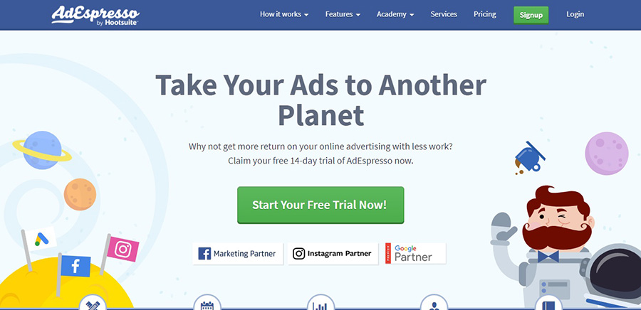 AdEspresso's social advertising tool
