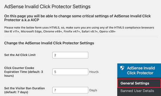 تنظیمات AdSense Invalid Click Protector