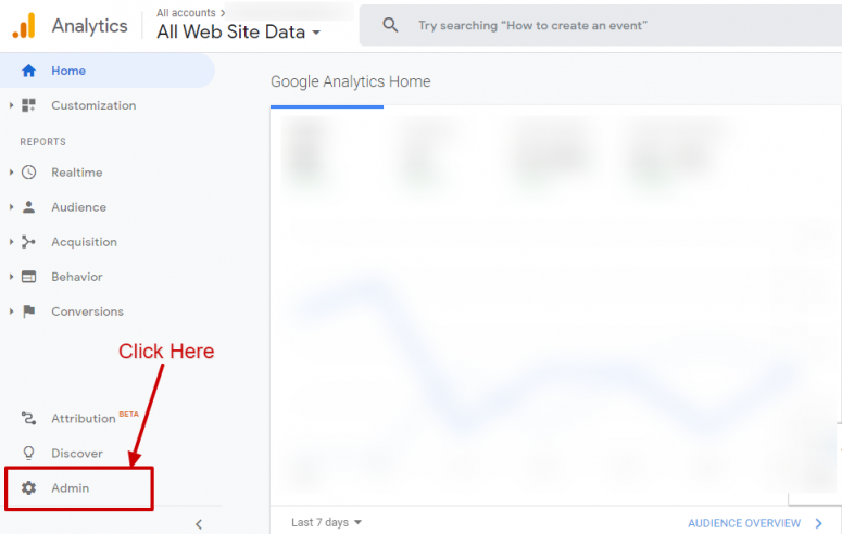 ورود به بخش مدیریت گوگل آنالیتیکس