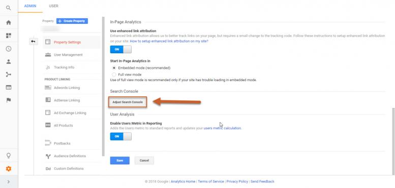 افزودن ایمیل برای اتصال گوگل آنالیتیکس به سرچ کنسول
