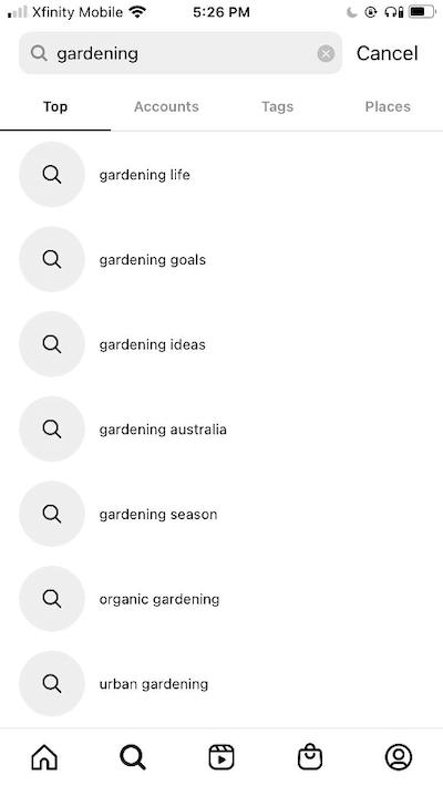 سئو جستجوی باغبانی در اینستاگرام