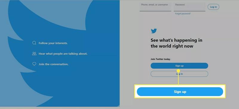 نحوه ایجاد یک حساب جدید و ثبت نام در توییتر