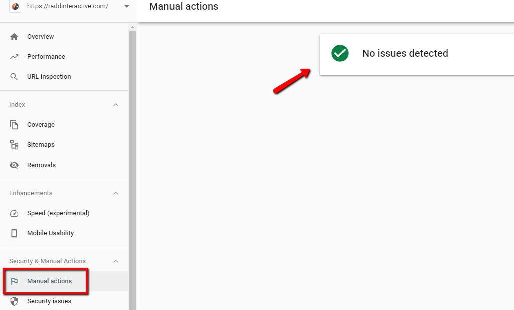 بررسی بخش گزارش های Manual actions