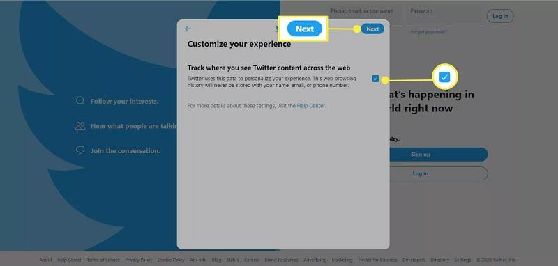 فعال یا غیر فعال کردن مسیری که در آن بتوان محتوای توییتر را در سراسر وب مشاهده کرد
