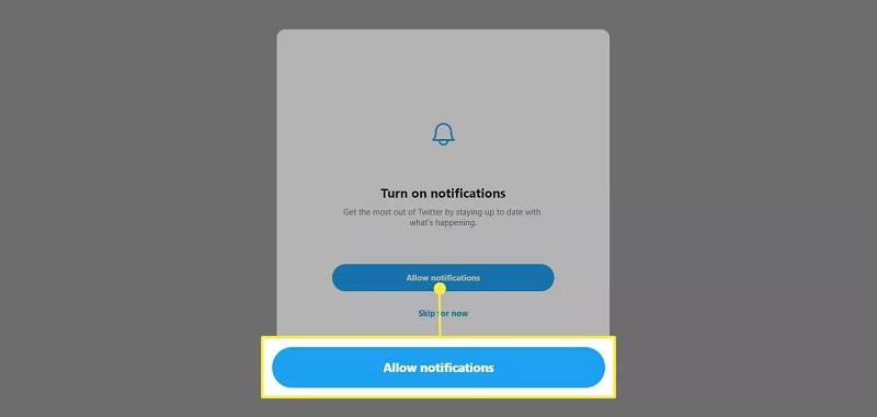 کلیک بر روی Allow notifications برای فعال کردن اعلان ها