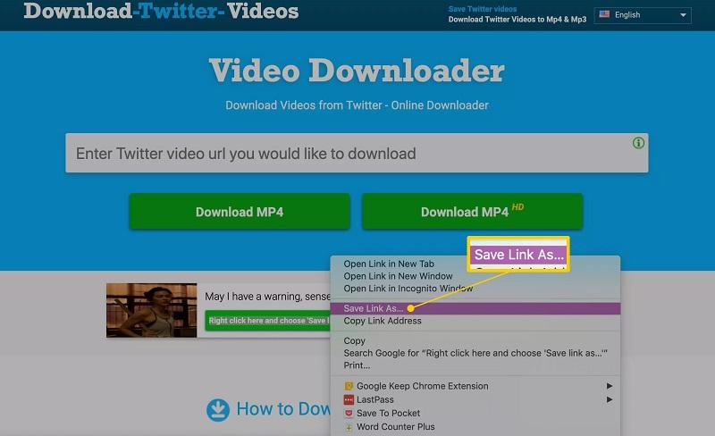 تنظیمات دانلود ویدیو در DownloadTwitterVideo.com