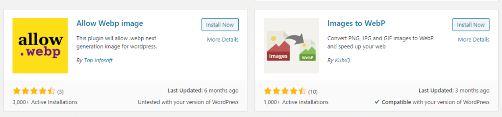 پلاگین های آپلود فرمت webp در وردپرس