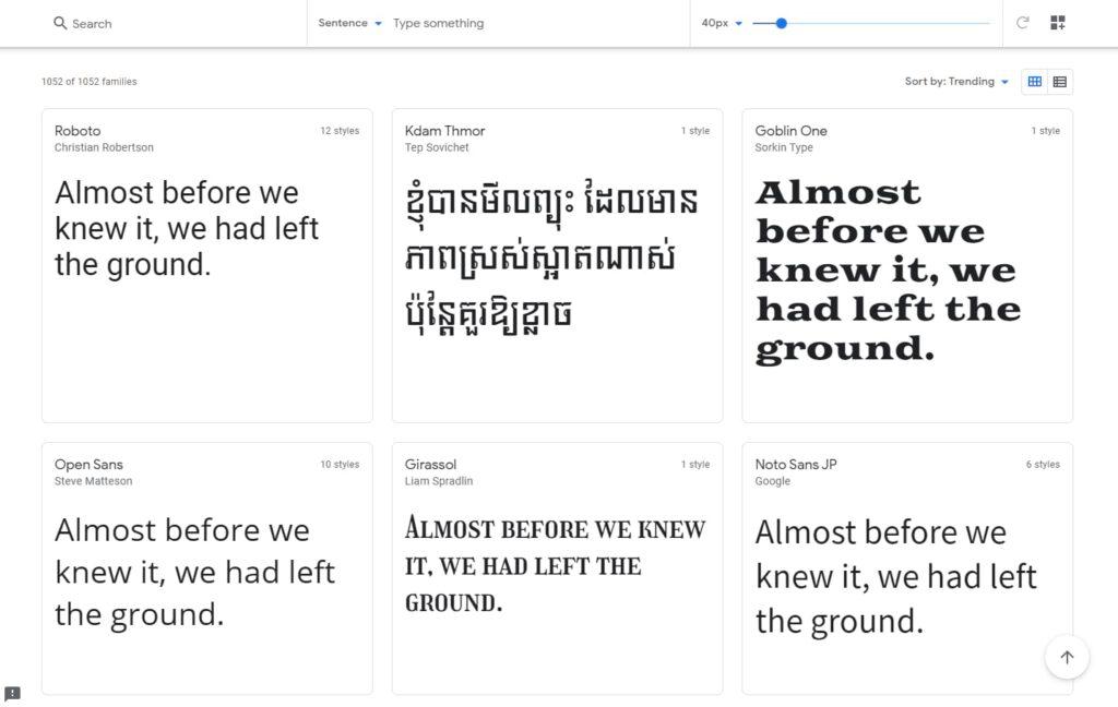 وبسایت google fonts
