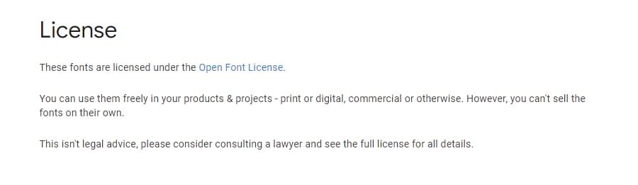 مجوز فونت های گوگل