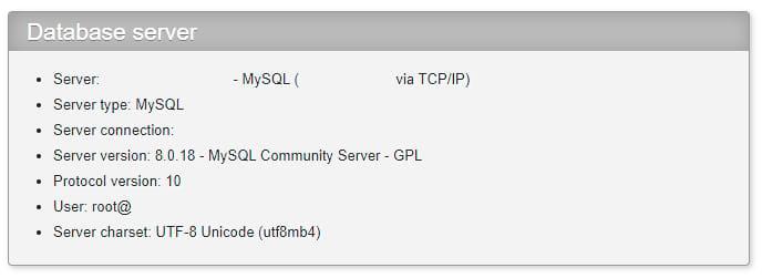 بررسی نسخه MySQL در phpMyAdmin