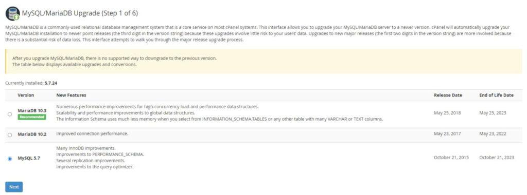 بررسی نسخه MySQL در سی پنل