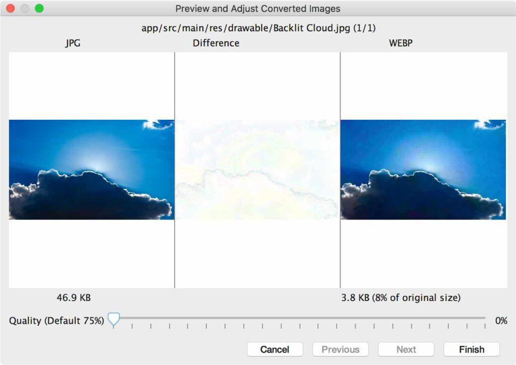 تبدیل JPG به قالب WebP با کیفیت 0٪