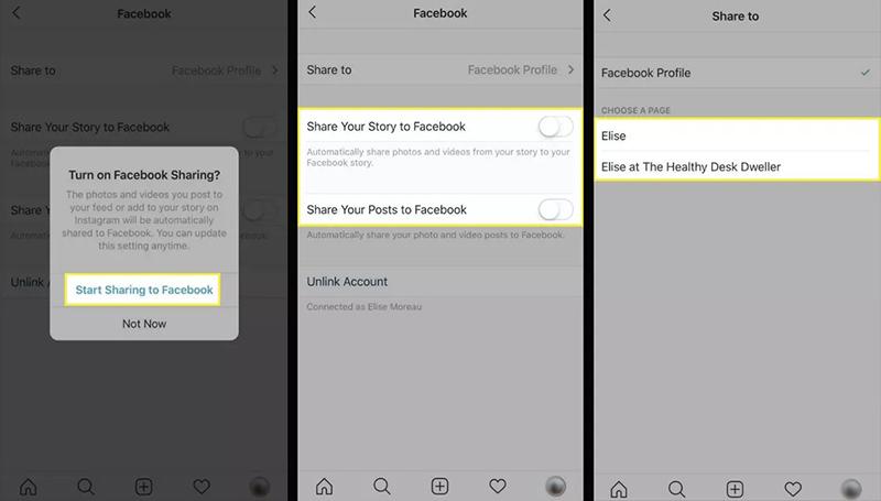 انتخاب گزینه  Start Sharing to Facebook