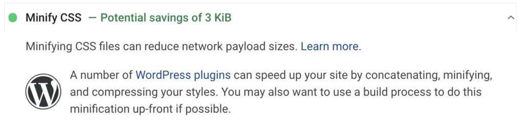 خطای فشرده سازی css در ابزار page speed insights